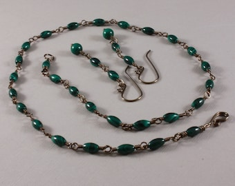 Malachite and bronze Niobium necklace and earrings set wire wrapped