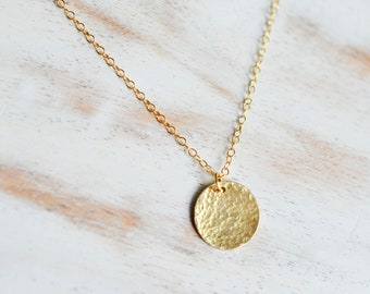 Hammered Gold Disc Necklace, Circle Tag Necklace, Hammered Circle Necklace, Circle Coin Necklace