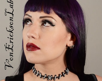 Frankenstein Monster Zombie - Silver and Black  with small stitches Choker