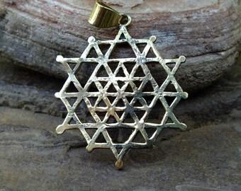 Merkaba Pendant Sacred Geometry Mandala, AJJAYA Tribal Jewellery Brass Jewelry Boho Gypsy Necklace star of david om
