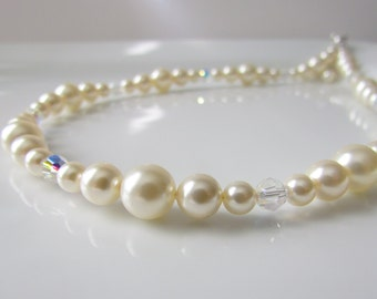 Cream Pearl Necklace, Swarovski Pearls, Pearl Necklace with Crystals, Ivory Pearls, Single Strand, Bridesmaids Necklace, Wedding Pearls