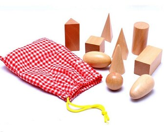 Wooden Geometric Solids 3-D Shapes Montessori Learning Education Math Toys See original listing