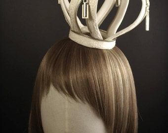 Ivory Wedding Crown with PU Leather & Lace Zippers