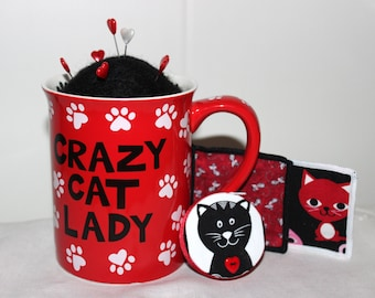 Red and Black Crazy Cat Lady Mug Wool Felt Pincushion and Matching Cat SacsToys and Retractable Tape Measure Set