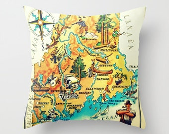 Maine Pillow Cover 18x18, Vintage Illustrated Map, Maine Gifts Maine State Map Pillow, Accent Pillow, Travel Themed Decor Maine Art Portland