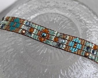 Handmade Artisan Beadwork Bracelet - Beadwoven - Sundance Style - Loom Beading - Desert Sage