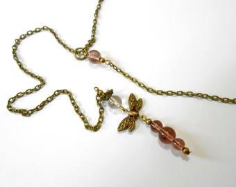 Tie necklace beads transparent violet purple fairy dragonfly
