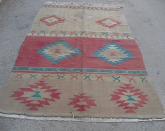 Turkish Kilim rug, area rug, 88'' x 56'', rug, vintage rug, bohemian rug, Turkish rug, rug, Soft color kilim, rug, colorful rug,
