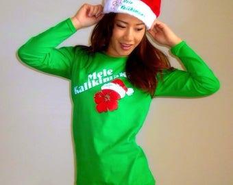 Green Mele Kalikimaka Hibiscus Ladies Long Sleeve T-Shirt