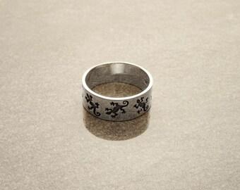 Lizard Silver Band Ring - Sterling Silver Band Ring - Salamander Pattern - Unique Handmade - Thumb Ring - Tribal Band Ring