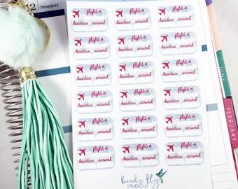 Flight Tracker Stickers | Travel Stickers / Planner Flight Information Stickers for Erin Condren  / Business Stickers / Business Trip