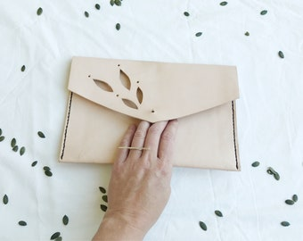 foliage leather clutch / natural leather purse / raw leather handbag / envelope clutch