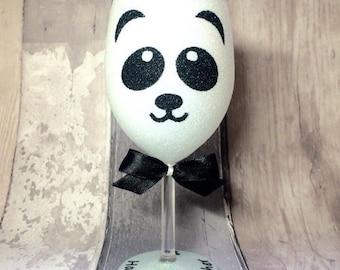 Panda Personalised Glitter Wine Glass, Glitter glasses, Glitter gifts, Personalized glitter wine glass, Birthday gift
