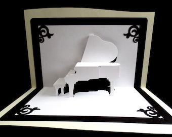 Pop-up Card, Pop Up Card, 3D Card, Greeting Card, Blank Card, All Occasion Card, Grand Piano Card, Kirigami Origami Card, Birthday Card