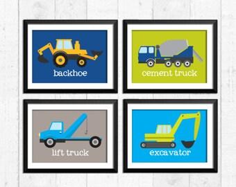 Trucks, transportation, boy art prints,  construction decor, construction art, baby nursery decor, kids wall art, nursery prints, trucks art