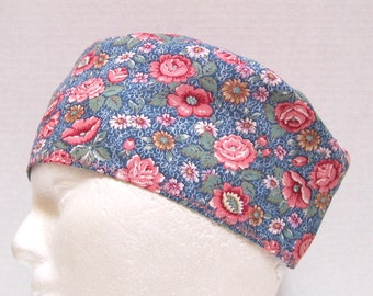 Scrub Hat, Surgical Cap or Chemo Hat in a Pink and Blue Floral Print