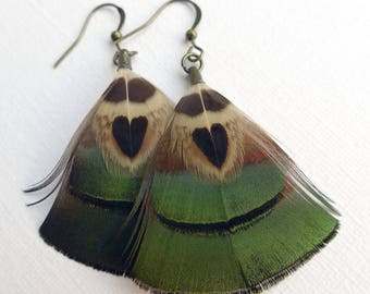 Feather heart earrings, pheasant feather dangle earrings, jewelry for her