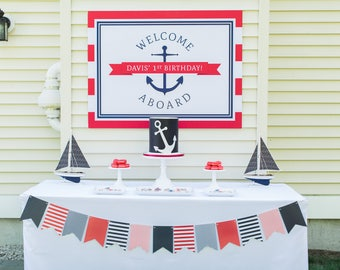 Nautical Anchor Party Backdrop (Anchor Birthday, Nautical Party Sign, Nautical Party Printables, Boys, Anchor Poster, Red and Navy Blue)