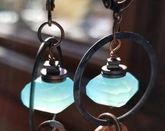 aqua chalcedony copper hoop earrings