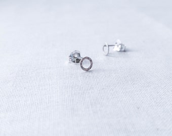 Tiny Sterling Silver Circle Stud Earrings - Minimalist Simple Tiny Hammered Geometric Artisan Ring Posts Understated Everyday Jewelry
