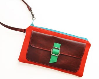 Leather Wristlet with Zipper, Stylish Wife Gift Idea Birthday, Small Wallet Purse, Phone Clutch for Women - The Lulu Wristlet in Cherry Red