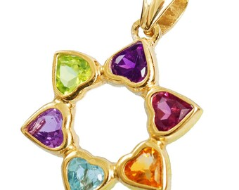 Youthful 14k Gold Hearts and Star of David Pendant