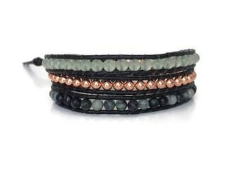 Womens Copper Beaded Wrap Bracelet - Aventurine Wrap Bracelet