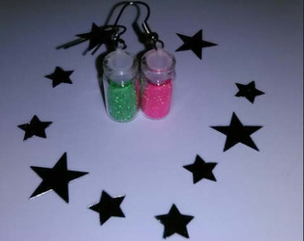 1Pair Mixed Matched Pink & Green Miniature Bottle Earrings