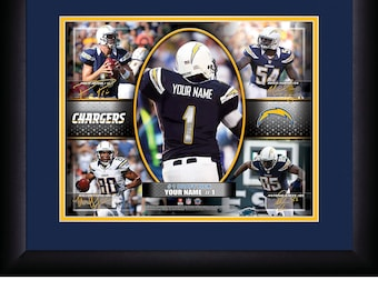 San Diego Chargers NFL Personalized Action Collage 15x18 MATTED and FRAMED