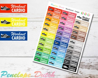 Cardio Running Workout Fitness Planner Stickers | Gym Weight Loss Stickers GLOSSY