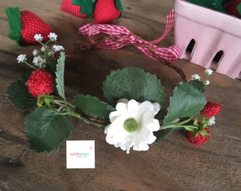 Strawberry fields forever floral crown/berries and baby's breath flower crown/for babies and toddlers/ws186