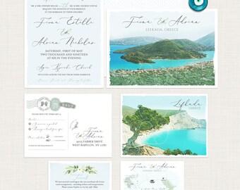 Destination wedding invitation set Greece Lefkada Greek Island European wedding map floral watercolor Illustrated invitation Deposit Payment
