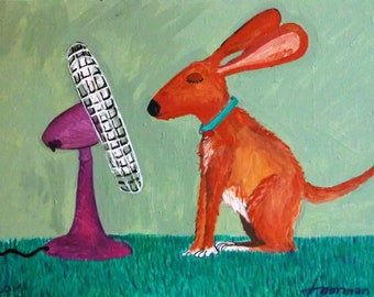 Acrylic Folk Art Painting of a Dog cooling off in front of a  Fan, a Whimsical work of art
