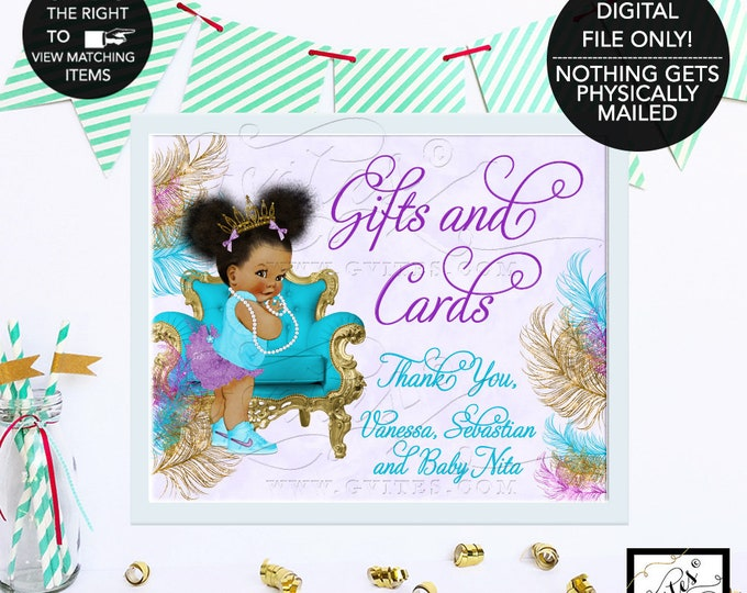 Gifts and Cards Sign Baby Shower, Gifts Sign for Baby Shower, Baby Princess African American, Gold, Turquoise Purple Silver, Afro Puffs
