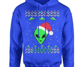 Aliens I Believe In Aliens Ugly Christmas Adult Hoodie Sweatshirt