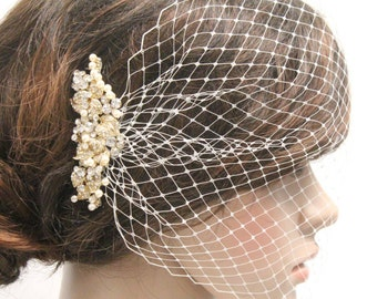 Birdcage veil Comb Wedding headpiece Bridal birdcage veil fascinator Wedding birdcage veil pearl tulle Bridal birdcage blusher Bridal comb