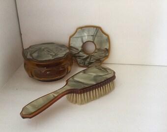 Art Deco Dresser Set Pieces, Art Deco Dresser Jar, 1940s Dresser Items, Amber Glass Dresser Jar