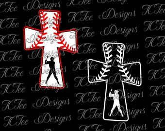 Baseball Cross Design - Baseball Mom SVG Design Download - Vector Cut File