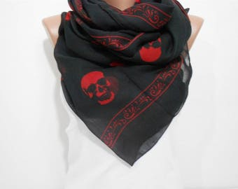 Skull Scarf Day of the Dead Scarf Cotton Scarf Halloween Scarf Red Skulls on Black Scarf Shawl Winter Scarf Accessory Gift For Women