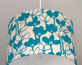 Snowdrops Turquoise, 30cm Dia Lampshade, Drum Lampshade, Blue Lampshade, Floral Lampshade, Light Shade, Ceiling Lampshade, Ceiling Light