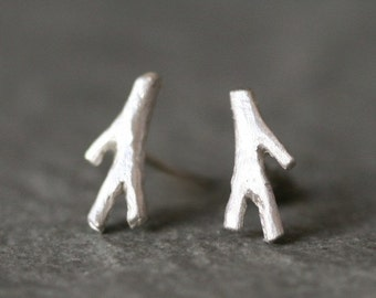Tiny Branch Stud Earrings in Sterling Silver