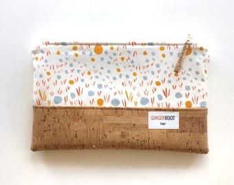 cork clutch, cork bag, gold cork clutch, abstract print clutch, handbag, vegan clutch, bridesmaid gifts