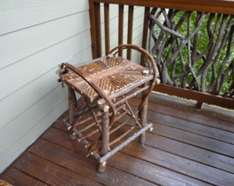 Hand crafted willow/twig Adirondack end table