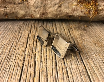 French cufflink blanks, silver plate, gunmetal black plate, one pair, Bezel/ Tray set, 16/18mm, square