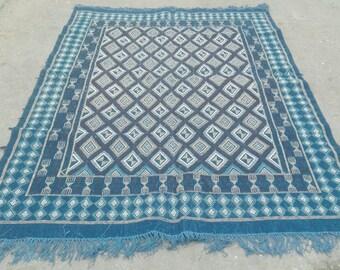 Big Blue rug, blue  kilim rug, rug, Margoum kilim, white rug, Kilim rug, Moroccan rug, Turkish rug, area rug, Moroccan rug, kilim