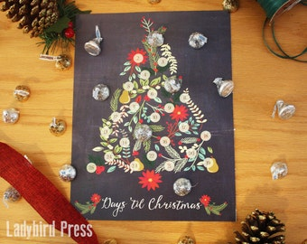 Printable Christmas Countdown Calendar - Christmas Tree - Candy Advent - Scripture Calendar - Christmas Activities - PDF - Instant Download