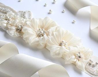 Bridal Sash, Wedding Belt, Floral Sash, Champagne Sash, Wedding Accessories, Crystal Beaded Sash, Bridal Dress Applique, Satin Ribbon Belt