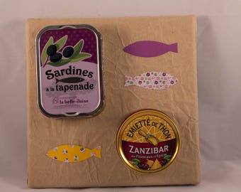 Square Panel with boxes of sardines