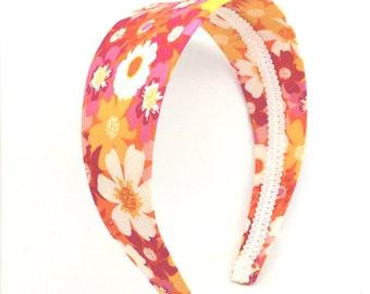 Bright Floral Headband -  Extra Wide Floral Headband - Big Girl Headband,  Adult Headband - Flower Print Headband