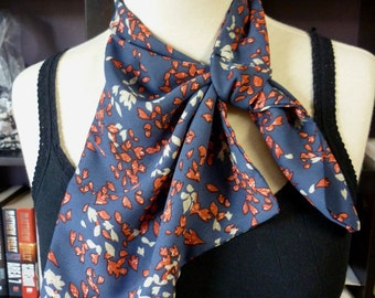 Stylish retro NECK SCARF scarflette neck tie. Red and Blue Leaves. Multiple ways to wear. Perfect gift. Spring